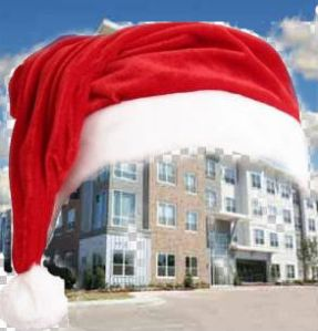 Houston apartment with xmas hat